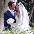 Exclusif - Jenson Button et Jessica Michibata lors de leur mariage à Maui à Hawaï, le 29 décembre 2014. Le couple s'est séparé un an plus tard.