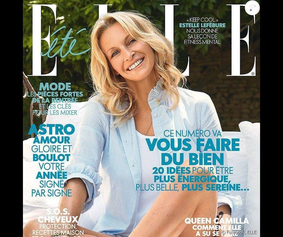 Estelle Lefébure en couverture du nouveau numéro du magazine ELLE. Août 2017.