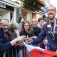 Yohann Diniz médaille d'or 50 Kms marche - L'équipe de France d'athlétisme a été reçue à l'Elysée par François Hollande et Najat Vallaud-Belkacem, le 18 août 2014.