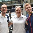 Yohann Diniz, Mélina Robert-Michon et Kévin Mayer à leur arrivée à la gare du Nord, Paris, après leur participation aux championnats du monde d'athlétisme de Londres le 14 août 2017.
