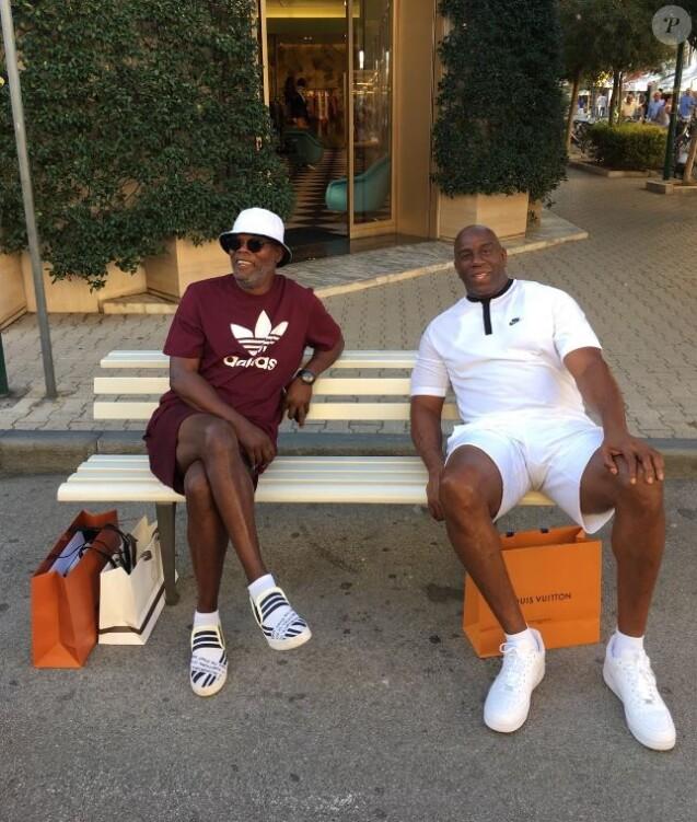 Magic Johnson et Samuel L. Jackson en vacances en Toscane. Août 2017.