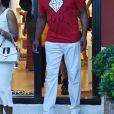 Magic Johnson profitant de ses vacances en famille à Portofino, le 6 août 2017.