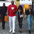 Magic Johnson, sa fille Elisa Johnson et son fils Earvin III Johnson profitant de leurs vacances avec à Portofino, le 6 août 2017.