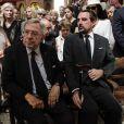 Le roi Constantin II de Grèce et son fils le prince Nikolaos de Grèce assistent aux obsèques de l'actrice Zoe Laskari à Athènes, le 22 août 2017. © Eurokinissi via ZUMA Wire/Bestimage22/08/2017 - Athènes