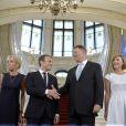 Brigitte Macron (Trogneux), Le président Emmanuel Macron, Le président de la Roumanie Klaus Iohannis, sa femme Carmen Iohannis lors de la cérémonie d'accueil du couple présidentiel français au palais Cotroceni à Bucarest le 24 août 2017.