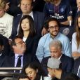 Le président du PSG Nasser Al-Khelaïfi, François Hollande, Thomas Hollande et sa compagne Émiile Broussouloux - Match entre le PSG et Saint-Etienne, au Parc des Princes, à Paris, le 25 Août 2017.