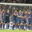Neymar Jr et ses coéquipiers lors du match PSG - Saint-Étienne au Parc des Princes à paris le 25 août 2017.