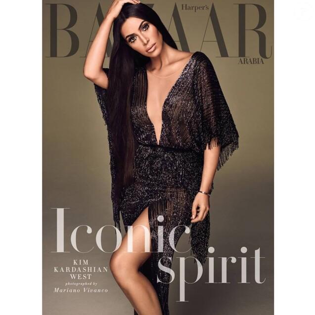 Kim Kardashian en couverture du magazine Harper's Bazaar Aradia. Photo par Mariano Vivanco.