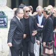 Jean-Claude Darmon, Johnny et Laeticia Hallyday - Obsèques de Mireille Darc en l'église Saint-Sulpice à Paris. Le 1er septembre 2017