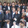 Jack Lang, Lise Toubon, Jean-Pierre Foucault et sa compagne Evelyn Jarre, Daniel Lauclair - Sorties des obsèques de Mireille Darc en l'église Saint-Sulpice à Paris. Le 1er septembre 2017