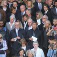 Jack Lang, Lise et Jacques Toubon, Jean-Pierre Foucault et sa compagne Evelyn Jarre - Sorties des obsèques de Mireille Darc en l'église Saint-Sulpice à Paris. Le 1er septembre 2017