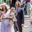 Andrea Casiraghi, sa femme Tatiana Santo Domingo et leurs enfants Alexandre et India - Cérémonie religieuse du Mariage du prince Ernst August Jr de Hanovre et de Ekaterina Malysheva en l'église Marktkirche de Hanovre le 8 juillet 2017.