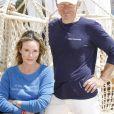 Exclusif - Philippe Poupon et sa femme Géraldine Danon en séance de pose sur la plage Bâoli pendant le 69e Festival international du film de Cannes le 12 mai 2016. © Philippe Doignon/LMS/Bestimage