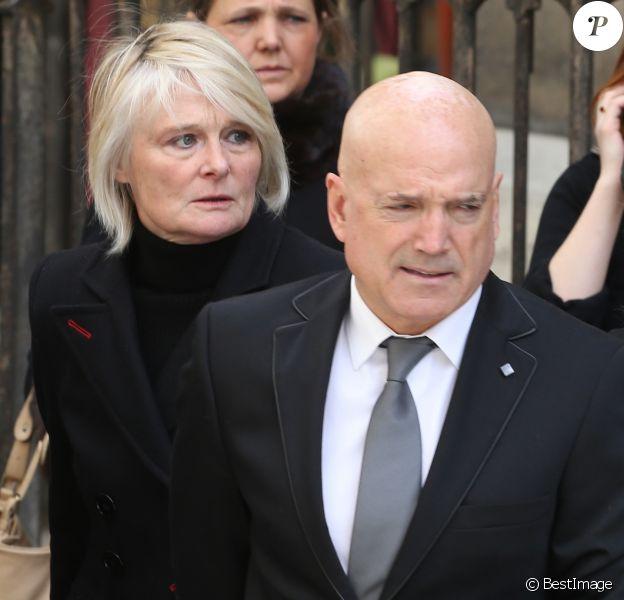 Louis Bodin et sa femme Claire Depeuille-Bodin - Obsèques de la navigatrice française Florence Arthaud en l'église Saint-Séverin à Paris, le 30 mars 2015.