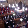 Le prince Albert II de Monaco assistait le 2 octobre 2017, avec à sa gauche Laurent Anselmi, nouveau directeur à Monaco des Services judiciaires et président du Conseil d'Etat, à l'audience solennelle de rentrée des cours et tribunaux de Monaco. © Bruno Bebert / Bestimage
