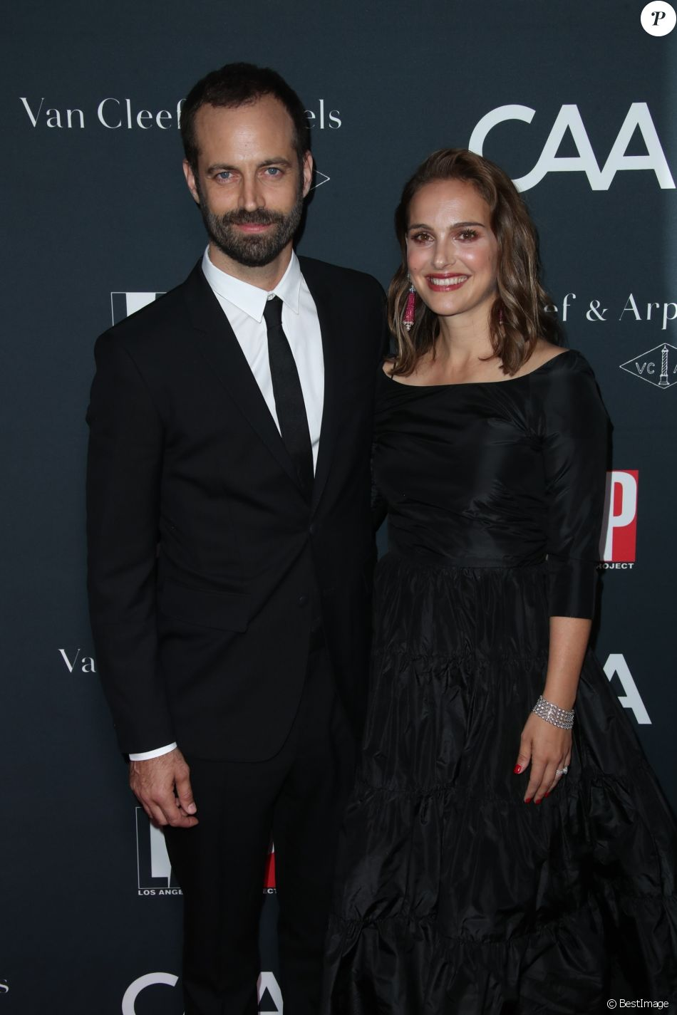 """Natalie Portman et son mari Benjamin Millepied - Les célébrités arrivent à la soirée """"Dance Project Gala"""" à Los Angeles le 7 octobre 2017."""