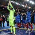 Les joueurs de l'équipe de France manifestent leur joie après leur qualification pour la Coupe du monde 2018 après leur victoire contre la Biélorussie (2-1) au Stade de France à Saint-denis le 10 octobre 2017. © Cyril Moreau/Bestimage