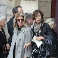 Nicole Garcia lors des obsèques de Jean Rochefort en l'église Saint-Thomas d'Aquin à Paris, le 13 octobre 2017.