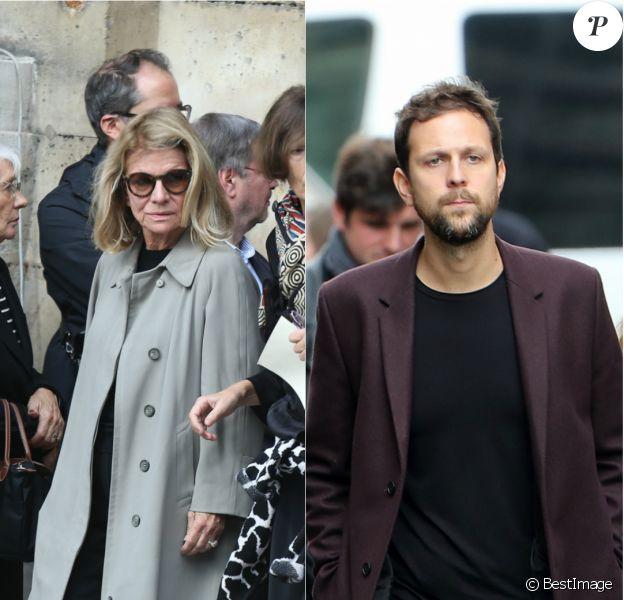 Nicole Garcia et Pierre Rochefort lors des obsèques de Jean Rochefort le 13 octobre 2017 à Paris (photomontage)