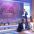 """David Pujadas lors du premier numéro de """"24h Pujadas, l'info en questions"""", lundi 28 août 2017 sur LCI."""