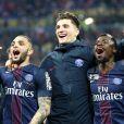 Layvin Kurzawa, Thomas Meunier, Serge Aurier - Le PSG (Paris-Saint-Germain) remporte la finale de la Coupe de la Ligue 2017 (4-1) face à l'ASM (Association Sportive de Monaco) au Parc OL à Lyon, le 1er avril 2017. © Cyril Moreau/Bestimage