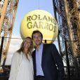 Julien Benneteau et sa femme Karen (enceinte) - Soirée des joueurs à la Tour Eiffel lors du tournoi de tennis de Roland Garros à Paris. Le 22 mai 2015