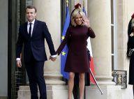 Brigitte Macron : Chic au bras d'Emmanuel pour déjeuner à l'Élysée