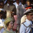 La reine Elizabeth II et le duc d'Edimbourg en novembre 1983 à Nairobi lors de commémorations.