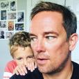 Simon Thomas et son fils Ethan (8 ans) sur une photo publiée sur Instagram le 18 août 2017