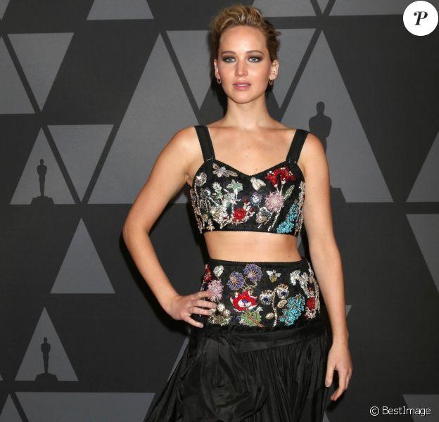 Jennifer Lawrence à la 9e soirée annuelle AMPAS Governors Awards au Dolby Ballroom à Hollywood, le 12 novembre 2017