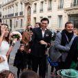 Exclusif - Mariage de Sandra de Matteis (en robe Dior) et Tomer Sisley à la Mairie du 8ème arrondissement de Paris, en présence de leurs enfants respectifs, Levin, Liv et Dino, de leurs familles et de leurs amis. Le 25 novembre 2017