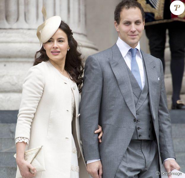 Lord Frederick (Freddie) Windsor et Sophie Winkleman (Lady Frederick Windsor) quittant la cathédrale Saint Paul en juin 2012 après la messe pour le jubilé de diamant de la reine Elizabeth II.
