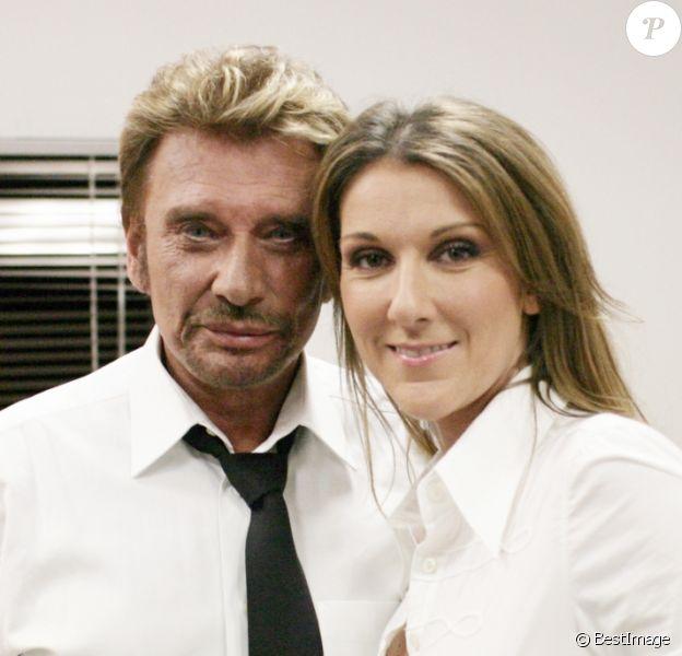 """Exclusif - Johnny Hallyday et Céline Dion lors de l'émission """"Les choristes"""" sur TF1."""