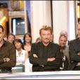 Jean Dujardin, Johnny Hallyday et Antoine Duléry - Enregistrement de l'émission Les Enfants de la télé en 2006
