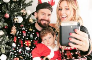 Aurélie Van Daelen, jolie Mère Noël avec son chéri Émilien et leur petit Pharell