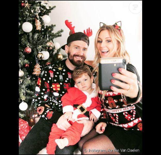 Aurélie Van Daelen, son compagnon Emilien Barbry et leur petit Pharell, le 10 décembre 2017.