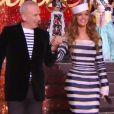 Iris Mittenaere et Jean-Paul Gautier - Concours Miss France 2018. Sur TF1, le 16 décembre 2017.