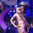 Miss Guyane : Ruth Briquet en tenue de fête de la musique - Concours Miss France 2018. Sur TF1, le 16 décembre 2017.