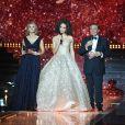 Sylvie Tellier, Alicia Aylies, Jean-Pierre Foucault - Concours Miss France 2018. Sur TF1, le 16 décembre 2017.
