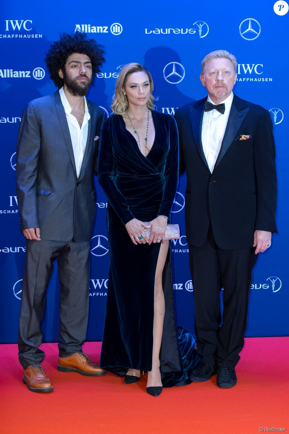 "Boris Becker avec sa femme Lilly Becker et son fils Noah Becker - Célébrités lors du ""Laureus World Sports Awards 2016"" à Berlin le 18 Avril 2016."