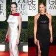 """Angelina Jolie et Jenifer Aniston aux Golden Globes 2015 et 2012."""
