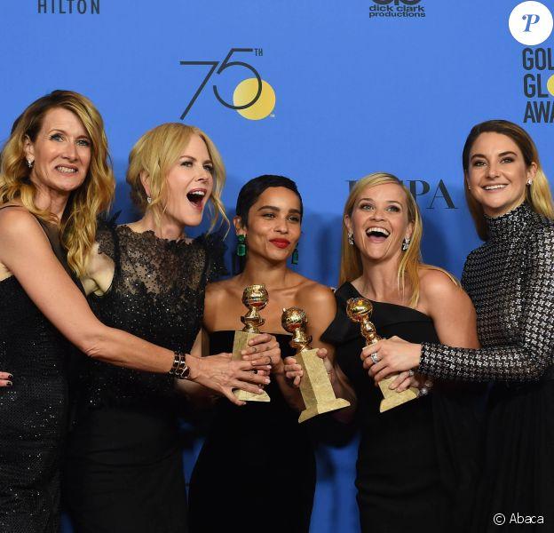 Laura Dern, Nicole Kidman, Zoe Kravitz, Reese Witherspoon et Shailene Woodley dans la press room des Golden Globe Awards au Beverly Hilton Hotel, Los Angeles, le 7 janvier 2018