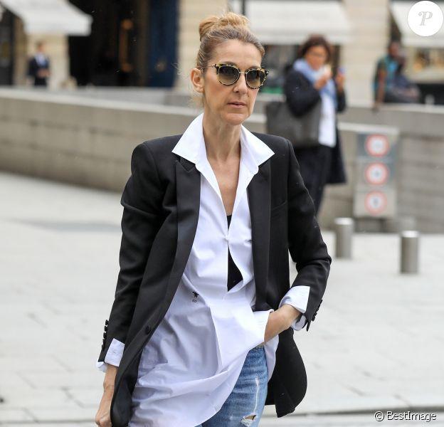 Exclusif - Céline Dion fait du shopping dans les enseignes luxueuses de la capitale à Paris le 9 août 2017.