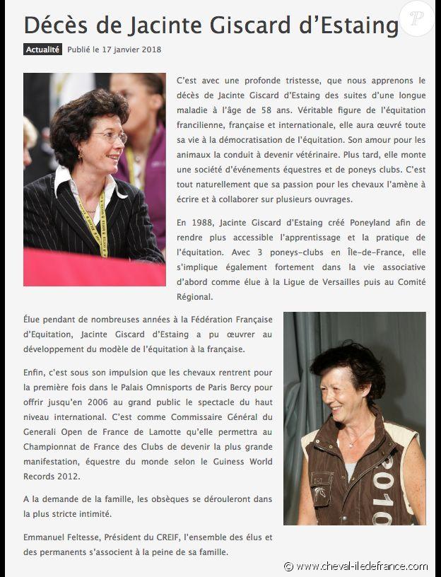 Hommage du Comité régional d'Equitation d'Île-de-France à Jacinte Giscard d'Estaing, morte mardi 16 janvier 2018.