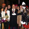 La princesse Stéphanie de Monaco était entourée de sa fille Pauline Ducruet, son frère le prince Albert II de Monaco et son fils Louis Ducruet avec sa compagne Marie pour la soirée d'ouverture du 42e Festival International du Cirque de Monte-Carlo le 16 janvier 2018. © Olivier Huitel/Pool/Bestimage