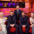 Helen Mirren, Liam Neeson, Graham Norton, Jamie Dornan et Sigrid lors du tournage du Graham Norton Show le 18 janvier 2018 - diffusion vendredi 19 janvier sur BBC ONE.