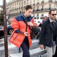 Bella Hadid sort de la maison Prada pour se rendre au restaurant Les Deux Magots à Paris le 19 janvier 2018.