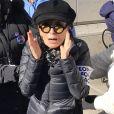 """Yoko Ono lors des manifestations géantes aux États-Unis pour la 2e """"Marche des femmes"""" à New York le 20 janvier 2018."""