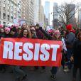 """Manifestations géantes aux États-Unis pour la 2e """"Marche des femmes"""" anti-Trump à l'occasion du premier anniversaire de son investiture à New York le 20 janvier 2018."""