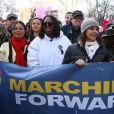 """Whoopi Goldberg - Les célébrités lors des manifestations géantes aux États-Unis pour la 2e """"Marche des femmes"""" à New York le 20 janvier 2018."""